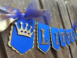little prince banner in royal blue gold glitter photo prop baby