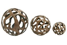 Home Decor Balls 3 Piece Set Aluminum Decor Balls Living Spaces