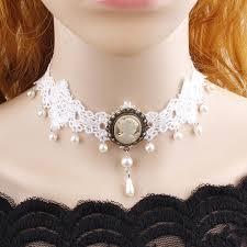 white lace choker necklace images Women vintage wedding bridal white lace choker retro simulated jpg
