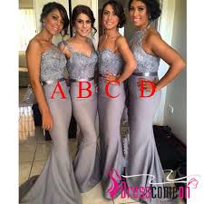 fitted bridesmaid dresses modest v neck silver grey bridesmaid dress gray cheap