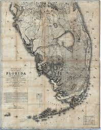 historic maps of florida map of the peninsula of florida south of ta bay 1856 ad