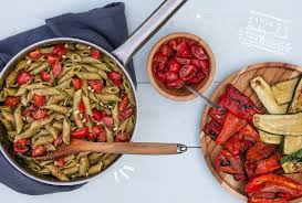 Roasted Vegetable Recipes by Super Quick Pesto Pasta With Roasted Veggies And Balsamic Tomatoes