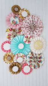 Pinwheel Decorations Antique Vintage Floral And Doily Party Paper Pinwheel Fan Rosettes