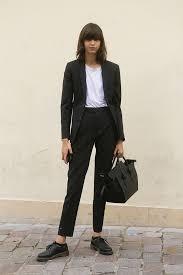 women u0027s black vertical striped blazer white crew neck t shirt