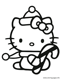 kitty holding candy cane coloring pages printable