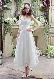 wedding corset sheath strapless corset back tea length garden lace wedding