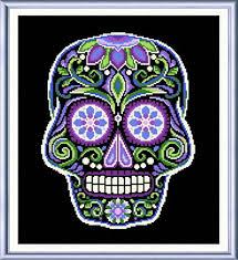 sugar skull black cross stitch pattern