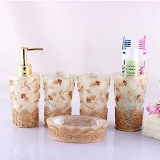 Yellow Bathroom Accessories by Resin Leaves Bathroom Accessory Set 5 Pieces Toothbrush Holder