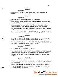 Missing Man Table Script Deadpool Movie Leaked Script 1