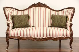 Upholstered Loveseat Chairs Sold Victorian 1870 U0027s Antique Carved Walnut Loveseat Or Settee