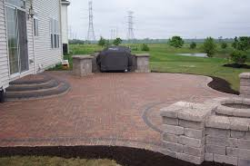 outdoor patio kitchen design with red brick herringbone floor f