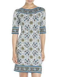 max studio lyst max studio printed boatneck shift dress in blue