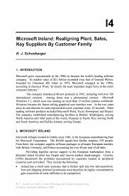 microsoft ireland realigning plant sales key suppliers by
