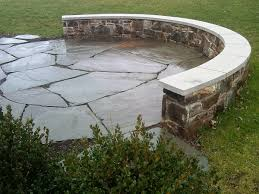 Irregular Stone Patio Irregular Cut Stone Patio With Circular Seating Wall Land Art