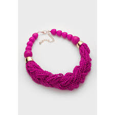 pink beads necklace images Hot pink faceted stones beaded statement necklace set jpg