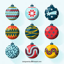 pack of nine decorative balls ready for christmas vector free