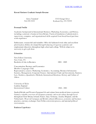 Sample College Graduate Resume by Recent Graduate Resume Sample