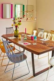 love the farmhouse table with different chairs for the home