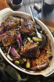 Roasted Vegetable Recipes by Balsamic Red Wine Roasted Chicken Thighs And Vegetables Host The