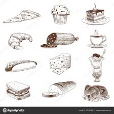 vector hand drawn food sketch and kitchen doodle u2014 stock vector
