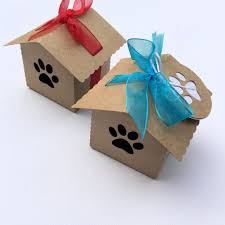 gift boxes kraft dog paw dog house gift boxes party favors pet lover