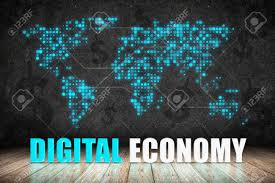 digital economy word on wood floor with dollar sign and dot world