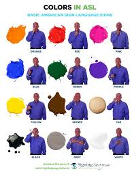 list of color sign word list for colors in american sign language asl