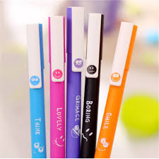 5pcs lot kawaii papelaria gel pen cute korean stationery smile face