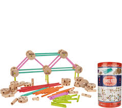 tinkertoy deluxe 100 wooden building set page 1 qvc