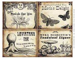 witch wine labels 4x5 digital collage sheet set for potions