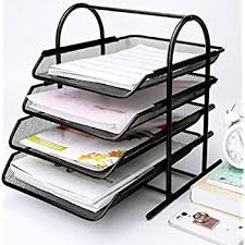 Paper Organizer For Desk Caveen 4 Tiers Letter Trays Desk Organizer Black Mesh