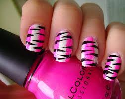 pink black and white nail polish zebra print pink and white