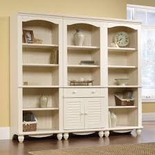 Antique White Bookcase With Doors Harbor View Library Bookcase With Doors 158082 Sauder