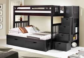 Wooden Bunk Bed With Stairs Wood Bunk Bed Black Wood Bunk