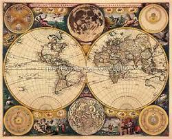 Decorative World Map Double Hemisphere Decorative Antique Vintage Old Colour John