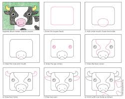 draw a cow face art projects for kids