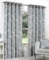 Floral Lined Curtains Bargain 100 Cotton Duck Egg Blue Floral Ring Top Curtains Next