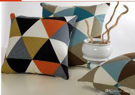 vintage design colorful cushion cover geometic triangle canvas