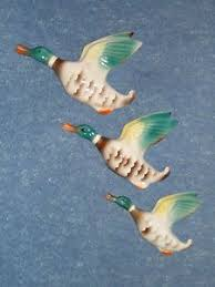 original deco 1930s set of three graduated kitsch flying duck