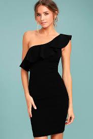cute black dress one shoulder dress bodycon dress 46 00