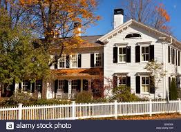 colonial house in autumn woodstock vermont usa stock photo