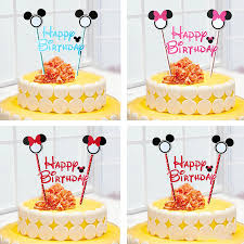 1pcs mickey mouse theme happy birthday flag with paper straw