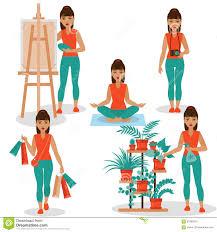 girlish hobbies stock vector image 57998319