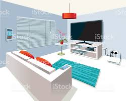 modern interior living room in smart home stock vector art