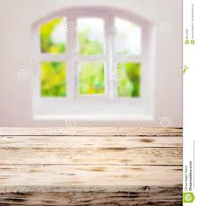 Wooden Kitchen Table by Wooden Table Over Summer Window Background Stock Photo Image