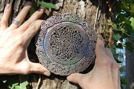 celtic knot mandala stone sculpture altered meditation