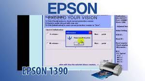 reset epson 1390 printer epson 1390 adjustment program resetter youtube