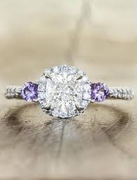 purple diamond engagement rings violetta cushion cut halo diamond ring with sapphires ken