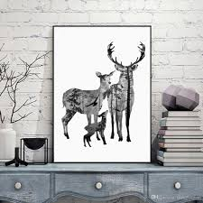 nordic vintage deer head silhouette posters black white animals nordic vintage deer head silhouette posters black white animals art prints wall picture canvas painting scandinave home decoration unframed wall art prints