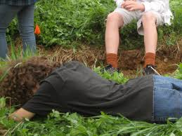 relaxing in the cover crop and giving compost tea to the life